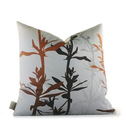 Morning Glory Wildflower Pillow in Silver and Rust