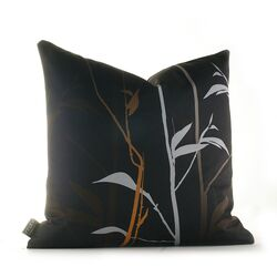 Morning Glory Tall Grass Pillow in Charcoal and Rust
