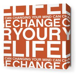 Stretched Change Your Life Textual Art on Canvas