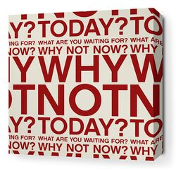 Stretched Why Not Textual Art on Canvas in Scarlet