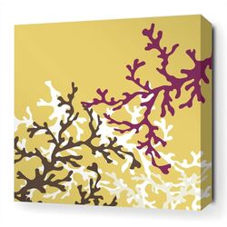Coral Stretched Wall Art in Plum