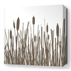 Cattails Stretched Wall Art in Chocolate