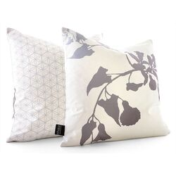 Morning Glory Throw Pillow in White