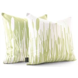 Cattails Throw Pillow in Celery