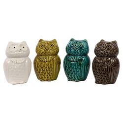 Ceramic Owl Four Piece Figurine Set