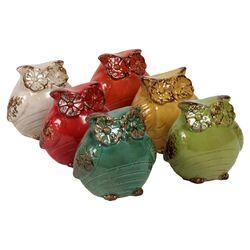 Ceramic Owl Assorted Six Piece Figurine Set