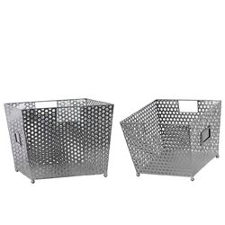Metal Basket with Perforated Sides and Cardholder Set of Two Silver