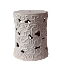 Ceramic Garden Stool with Embossed Swirl Designs