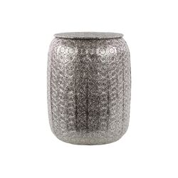 Metal Pierced Metal Stool Polished Silver