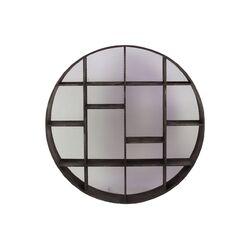 Wooden Shelf Circular with Screen Backing Charcoal Gray