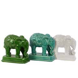 Ceramic Elephant Decor Three Piece Figurine Set