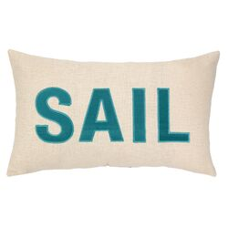 Nautical Applique Sail Throw Pillow