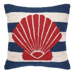 Nautical Hook Seashell Stripe Pillow