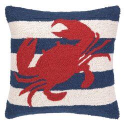 Nautical Hook Crab Stripe Pillow
