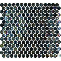 Geo Circle Glass Frosted Mosaic in Black