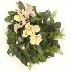 Magnolia Wreath with Burlap Ribbon