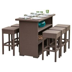 Redondo 7 Piece Outdoor Wicker Bar Set