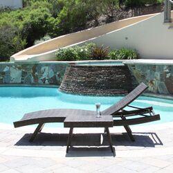 Franklin 2 Piece Adjustable Lounge & Wicker Table Set