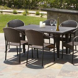 Dimke 7pc PE Wicker Outdoor Dining Set