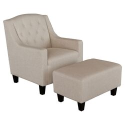Benez Tufted Fabric Club Chair and Ottoman