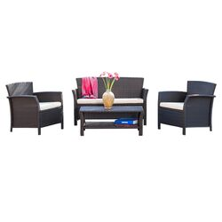 Trieste 4 Piece Deep Seating Group in Brown with Cushions