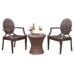 Giesel Wicker Outdoor 3 Piece Dining Set