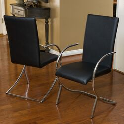 Justin Leather and Chrome Chairs (Set of 2)
