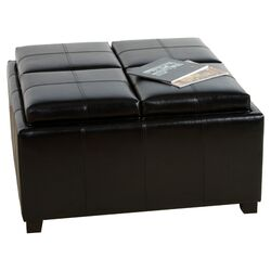 Cornell Leather Tray Ottoman
