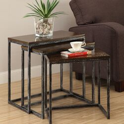 3 Piece Nesting Table Set in Brown Cherry