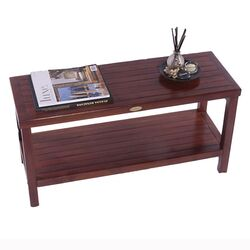 Classic Teak Outdoor Bench Shelf Serving Caddy or End Table