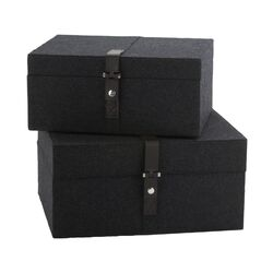 Nested Charcoal Felt Box (Set of 2)