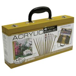 Wooden Box Acrylic Brush Set