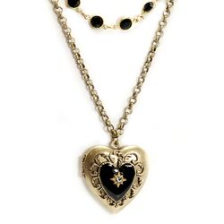 Enamel Heart Locket Necklace
