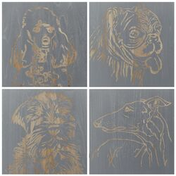Dog 4 Piece Graphic Art Plaque