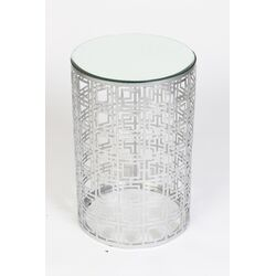 Mirrored Drum End Table