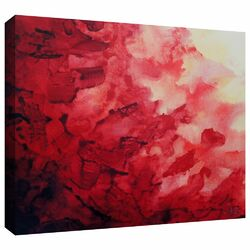 'Red Watery Abstract' by Shiela Gosselin on Gallery Wrapped Canvas