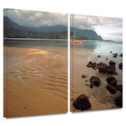 'Hanalei Bay at Dawn' by Kathy Yates 2 Piece Gallery-Wrapped Canvas Art Set
