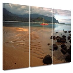 'Hanalei Bay at Dawn' by Kathy Yates 3 Piece Gallery-Wrapped Canvas Art Set