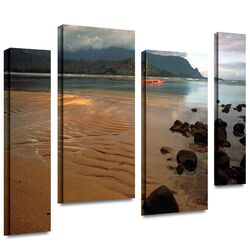 'Hanalei Bay at Dawn' by Kathy Yates 4 Piece Gallery-Wrapped Canvas Art Set