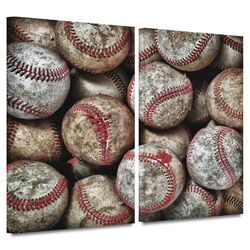 'Baseballs' by David Liam Kyle 2 Piece Gallery-Wrapped Canvas Art Set