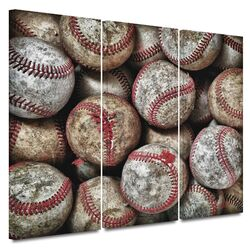 'Baseballs' by David Liam Kyle 3 Piece Gallery-Wrapped Canvas Art Set