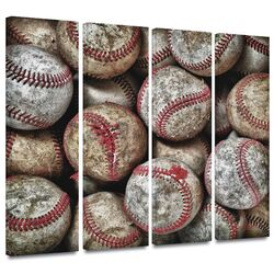 'Baseballs' by David Liam Kyle 4 Piece Gallery-Wrapped Canvas Art Set