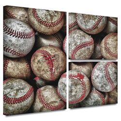 'Baseballs' by David Liam Kyle Flag 3 Piece Gallery-Wrapped Canvas Art Set