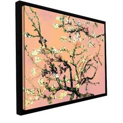 'Eggshell Almond Blossom' by Vincent Van Gogh Floater Framed Gallery-Wrapped Canvas Art