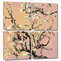 'Eggshell Almond Blossom' by Vincent Van Gogh 4 Piece Gallery-Wrapped Canvas Art Set