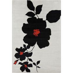 Cinzia Grey / Black Floral Area Rug