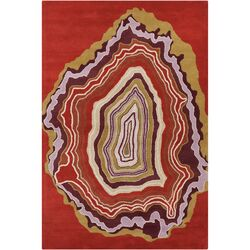 Cinzia Rusty Red Abstract Area Rug