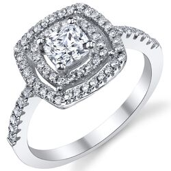 Solid Sterling Silver 925 Cushion Cut Cubic Zirconia Engagement and Wedding Ring