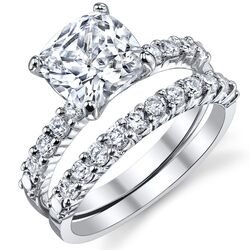 Solid Sterling Silver 925 Cushion Cut Cubic Zirconia Bridal Set