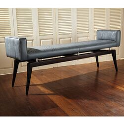 Cowhide Leather Quilted City Bench